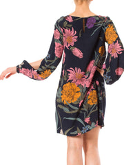1970s Botanical Floral Print Long Sleeve Tunic