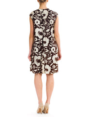 Pop Art in Brown-and-White Dress with Capelet