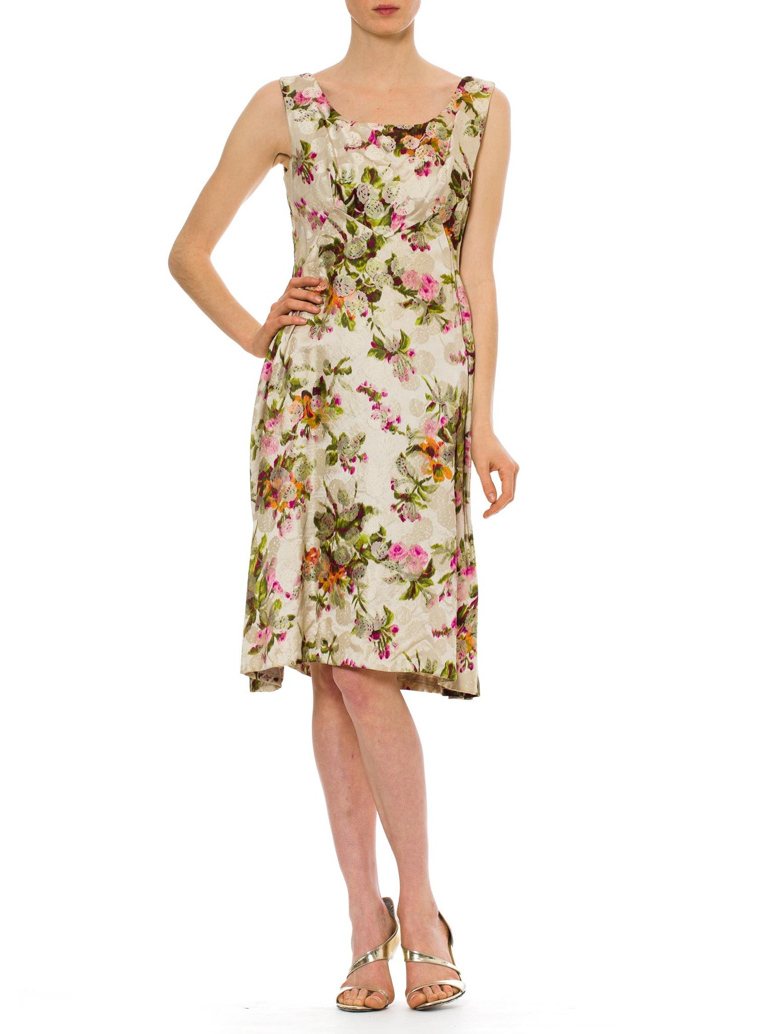 1960s Vintage Lizy Perette Multicolored Floral Dress
