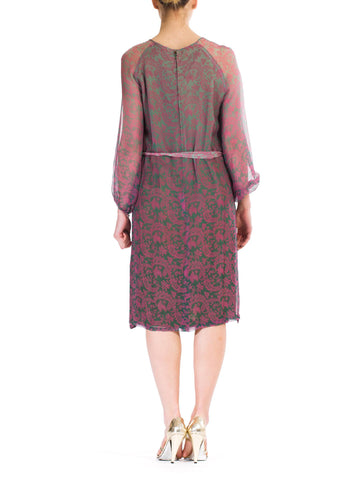 1980S Pink  & Grey Silk Chiffon Paisley Printed Sheer Sleeve Dress With Belt