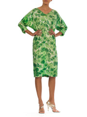 1960s Mr Blackwell Floral Batwing Sleeve Midi Dress