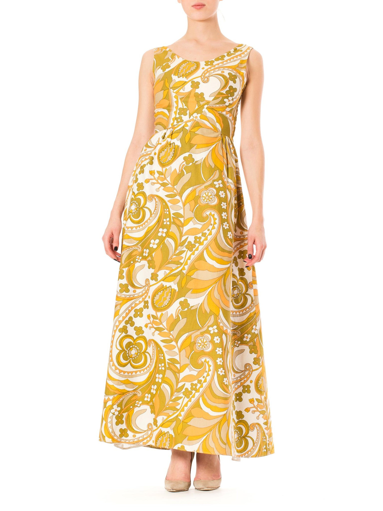 1970s Boho Mod Floral Pucci Print Sleeveless Maxi Dress