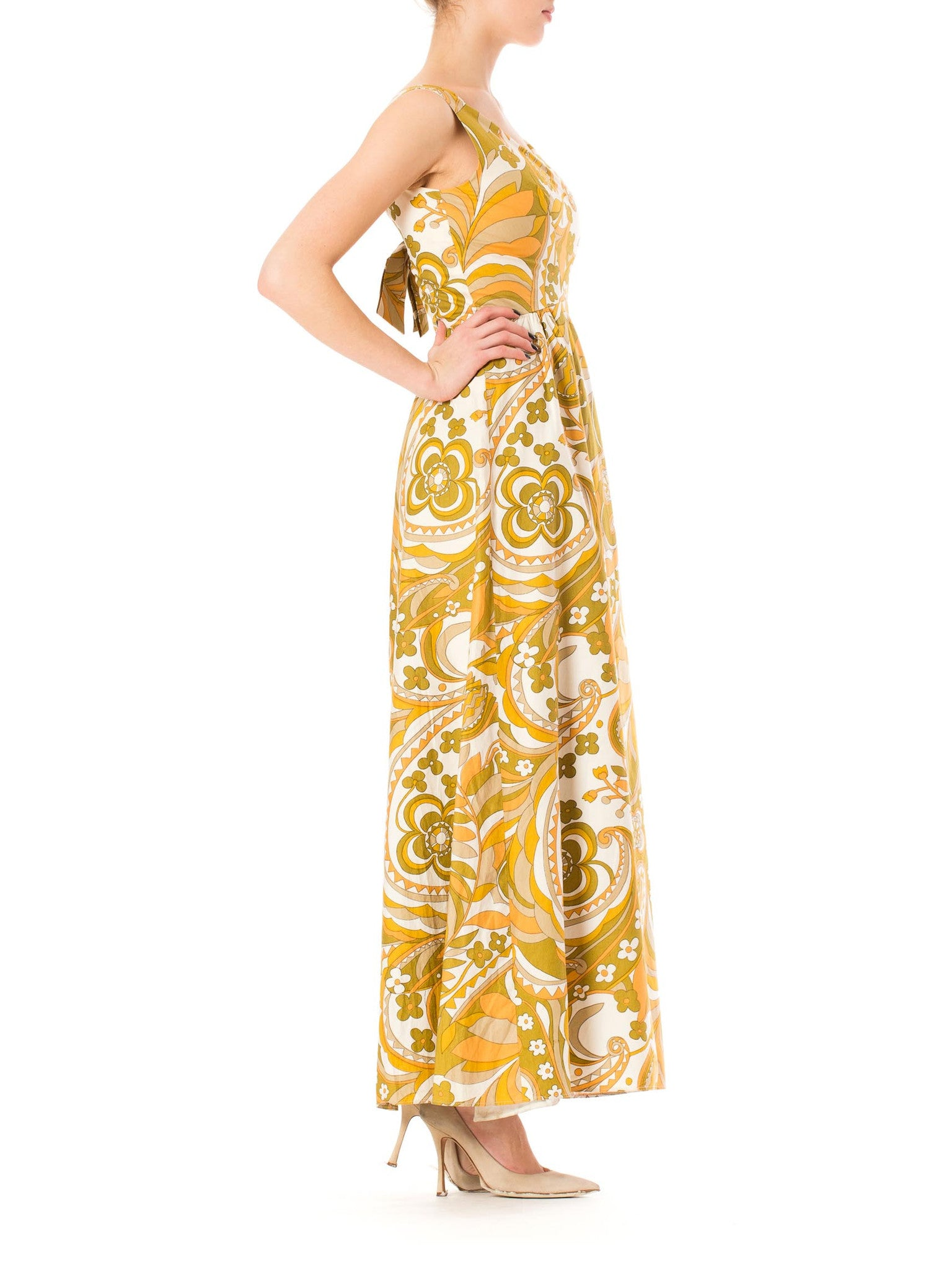 1960S JEAN ALLEN Yellow Cotton Pucci Style Psychedelic Printed Maxi Dress , Fully Lined