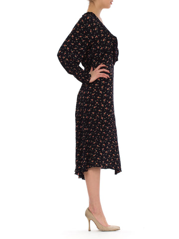 1920s Floral Long Sleeve Silk Caftan Dress