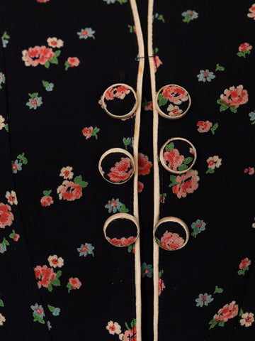 1920S Navy Blue Silk Crepe Pink Floral Printed Long Sleeve Dress Exceptionally Rare XXL