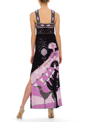 1970s Vintage Paganne Black and Violet Dress