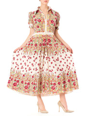 1940s Floral Peasant Style Puff Short Sleeve Cotton Maxi Dress