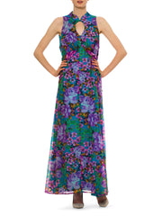 Vibrant 1980s Vintage Violet Floral Keyhole Multicolor Dress