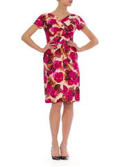 Vibrant Vintage 1950s Rose Print Beaded Silk Dress