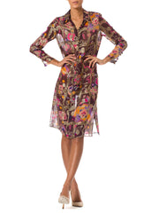 1960's Popard Couture Brown and Multi-Color Silk Chiffon geometric Print Dress