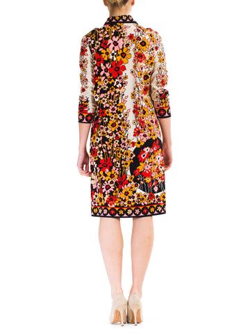 1960S Paganne Floral Printed Polyester Jersey Mod Shift Dress