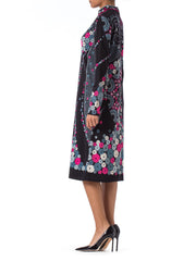 1960s Paganne MOD Floral Printed Long Sleeve Dress