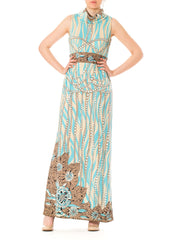 1960s Paganne Mod Psychedelic Swirls Aquamarine Turtleneck Maxi Sleveless Dress