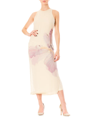 1970s Gianfranco Ferré Nude Purple Floral Print Lined Sleeveless Maxi Dress