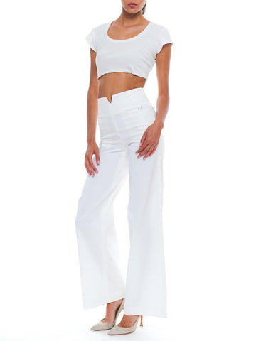 2000S Chanel White Rayon Blend Sailor Pants Xs