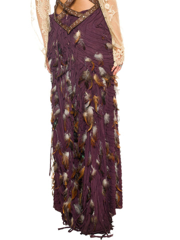 Naeem Khan Couture Grade Silk Mousiline Skirt With Feathers