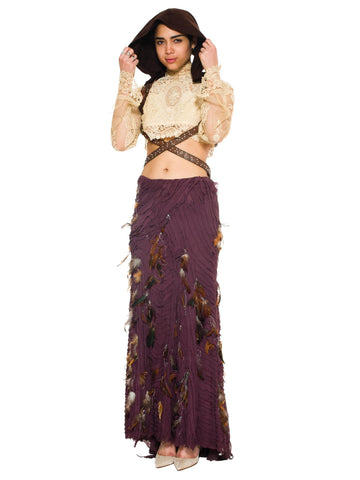 2000S NAEEM KHAN Eggplant Purple Silk Crinkle Chiffon Bias Strip Maxi Skirt Adorned With Pheasant Feathers & Silver Metallic Thread