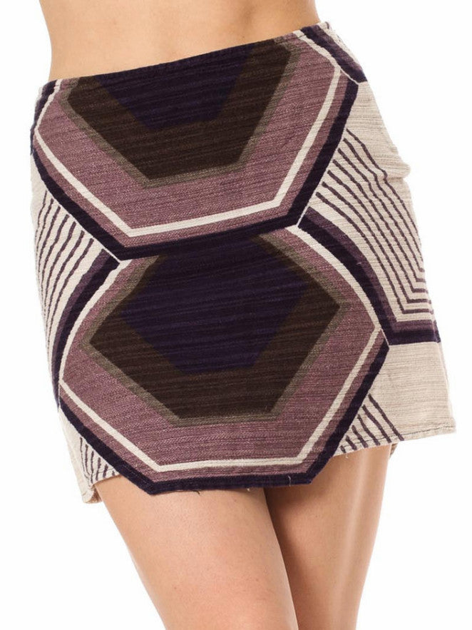 2000S MIU Purple & Ivory Cotton Barkcloth Mini Skirt