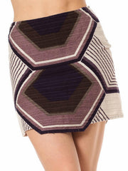 1960's Geometric Print Wool Mini Skirt