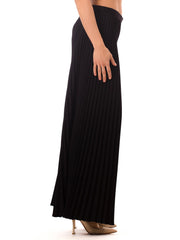 1970s Vintage Pleated Wide Leg Black Pants