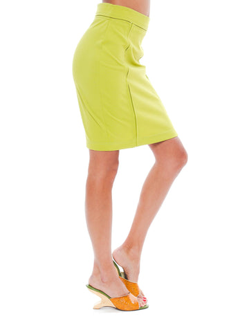 1990S CLAUDE MONTANA Lime Green Poly Blend Stretch Body-Con Pencil
