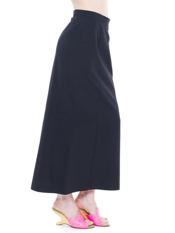 1990S Comme Des Garcons Black Wool Deconstructed Seamed Midi Skirt