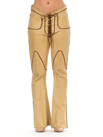 1960s North Beach Beige Tan Hippie Whip Stitch Leather Pants