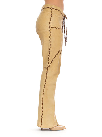 1960S Tan Leather Western Whipstitch Pants
