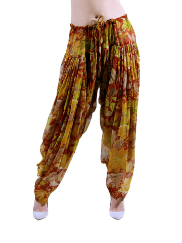 1970S Tropical Printed Silk Chiffon Pleated Harem Drawstring Waist Pants