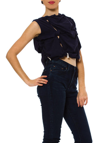 2000S Comme Des Garcons Navy Cotton Blend Knotted Cropped Top