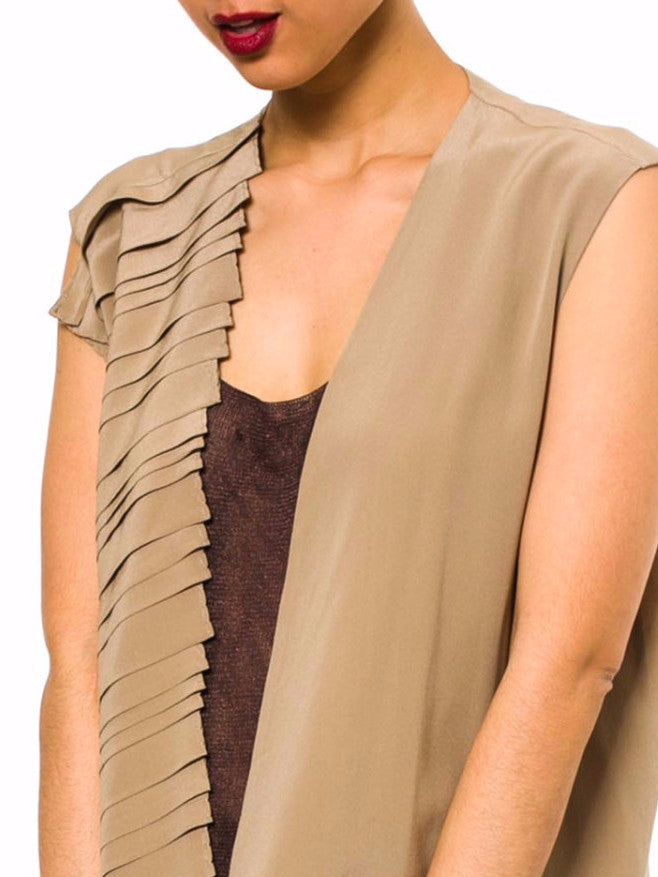 1990S GIANFRANCO FERRE Camel Silk Crepe De Chine Asymmetrically Pleated  Top