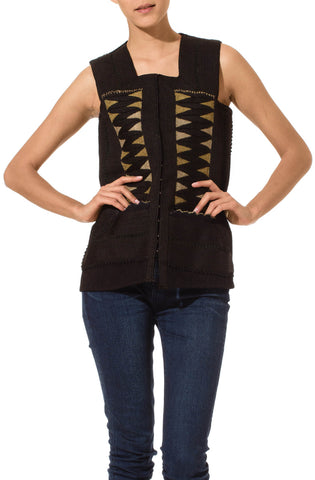 1930S Black African Wool Vest With Metallic & Rayon Embroidery