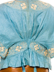 Teens Blue Linen Short Jacket With Lace Applique