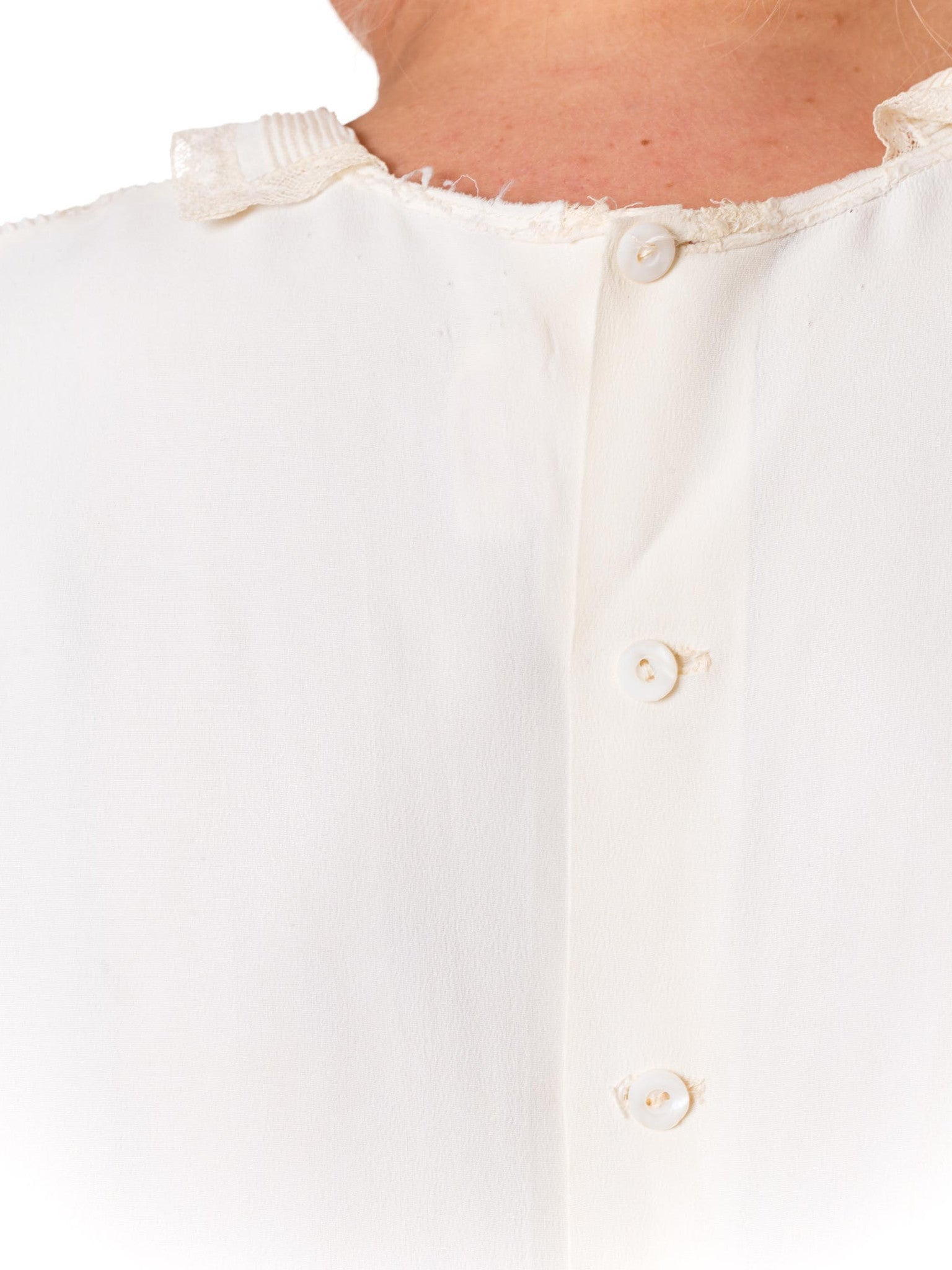 1940s Rayon and Lace Blouse