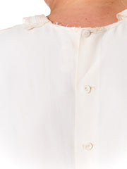 1940S  Off White Rayon Crepe Blouse With Pin-Tuck & Insertion Lace Collar