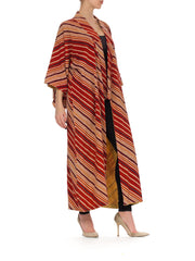 1940s Japanese Striped Long Kimono
