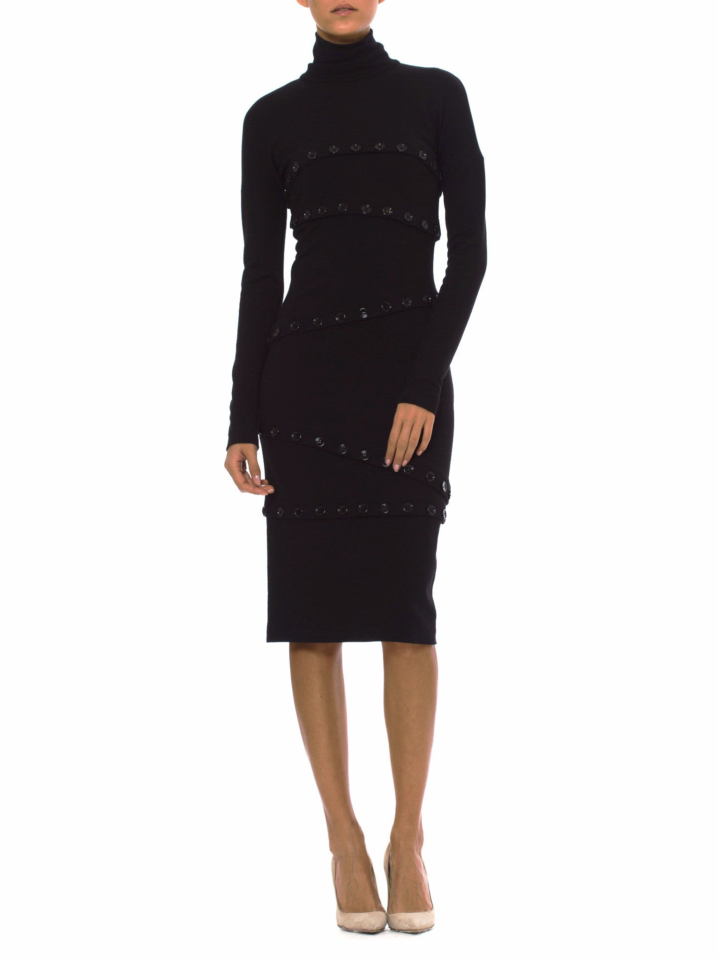 1990s DOLCE & GABBANA Sleek Black Turtleneck Virgin Wool Sweater Dress