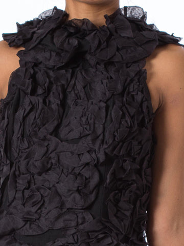 1960S  Black Silk Organza Mod Textured Ruffle Cocktail Dress