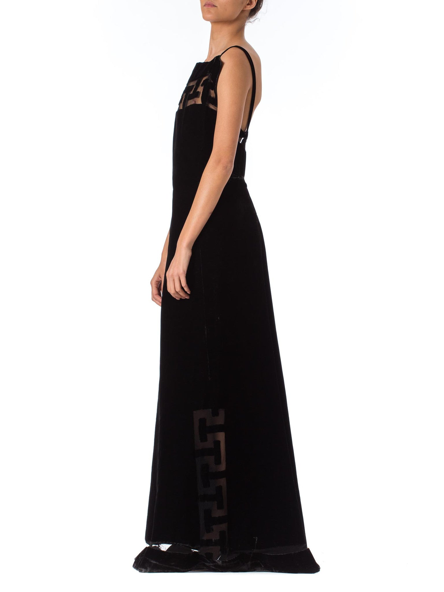 1930S Black Silk & Cotton Velvet Jacques Of Chicago Gown With Couture Greek Key Cutout Details