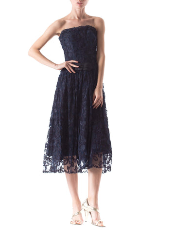 1950S Navy Blue Silk Taffeta & Passementrie Embroidered Lace Strapless Cocktail Dress