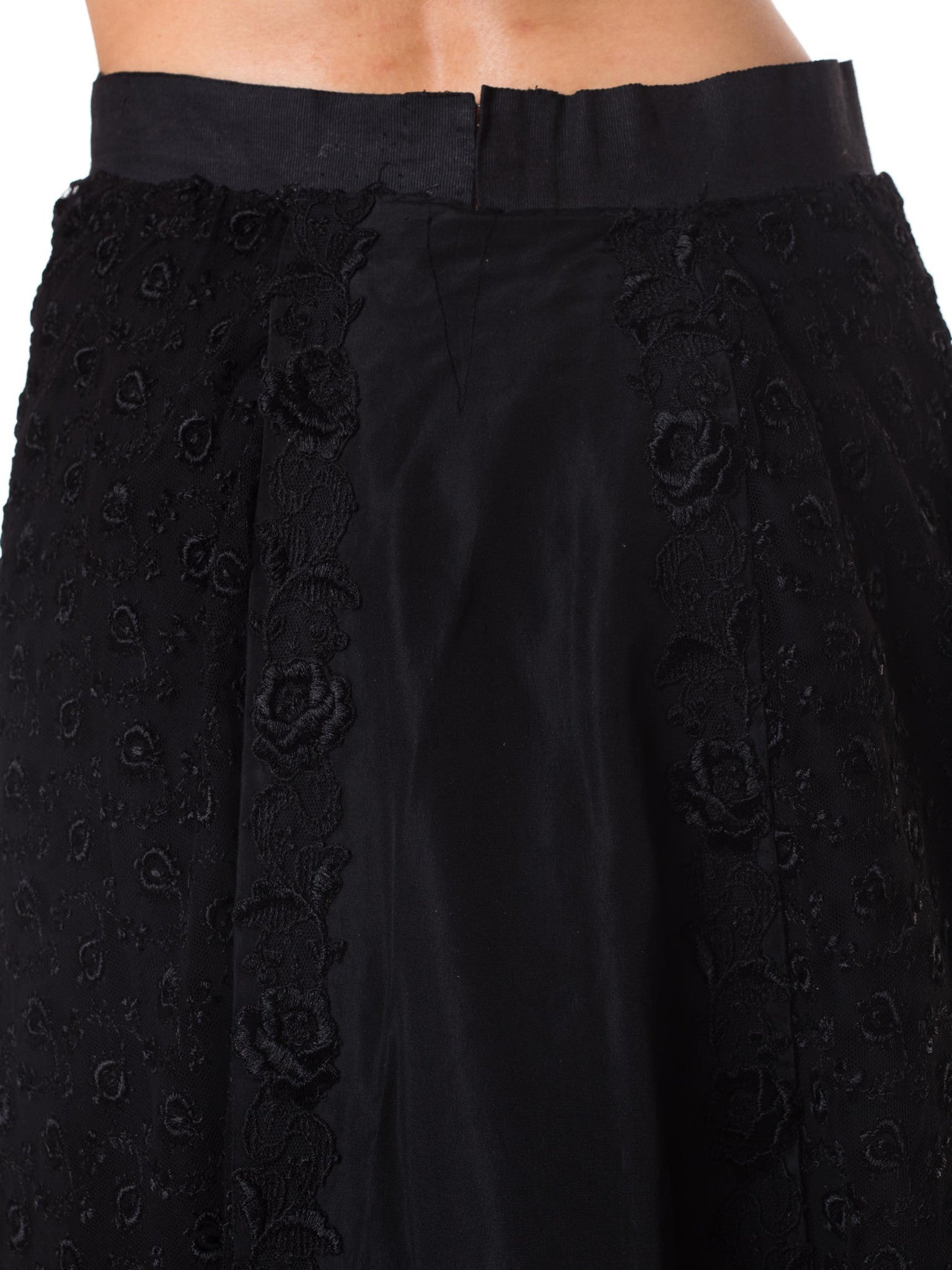 1900S Black Silk & Lace Victorian Border Embroidered Skirt