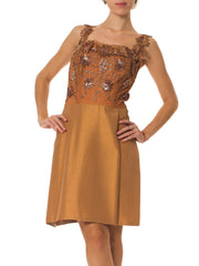 1950s Cocktail Dress Embroidered and Beaded with Copper