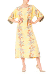 1940s Aloha Hawaii Tropical Sheer Beach Maxi Dress
