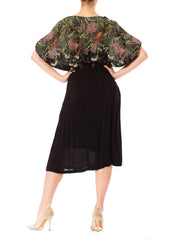 1970s Boho Floral Print Batwing Sleeve Black Midi Dress