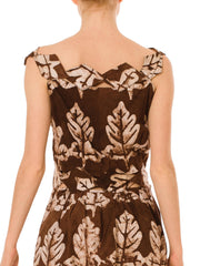 60s Cotton Dress With Leaf Print