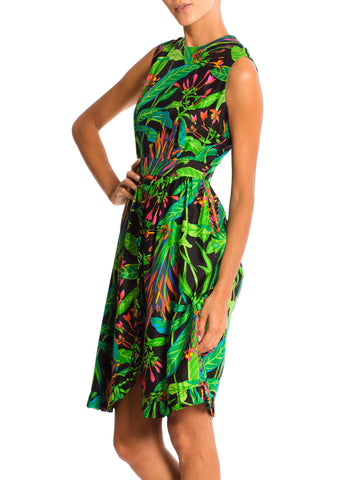 1960'S Green Tropical Silk Dress
