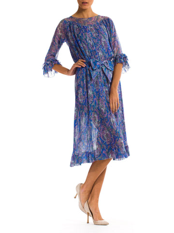 1970S Blue Paisley Silk Chiffon Sheer Pleated Dress With Front Bow