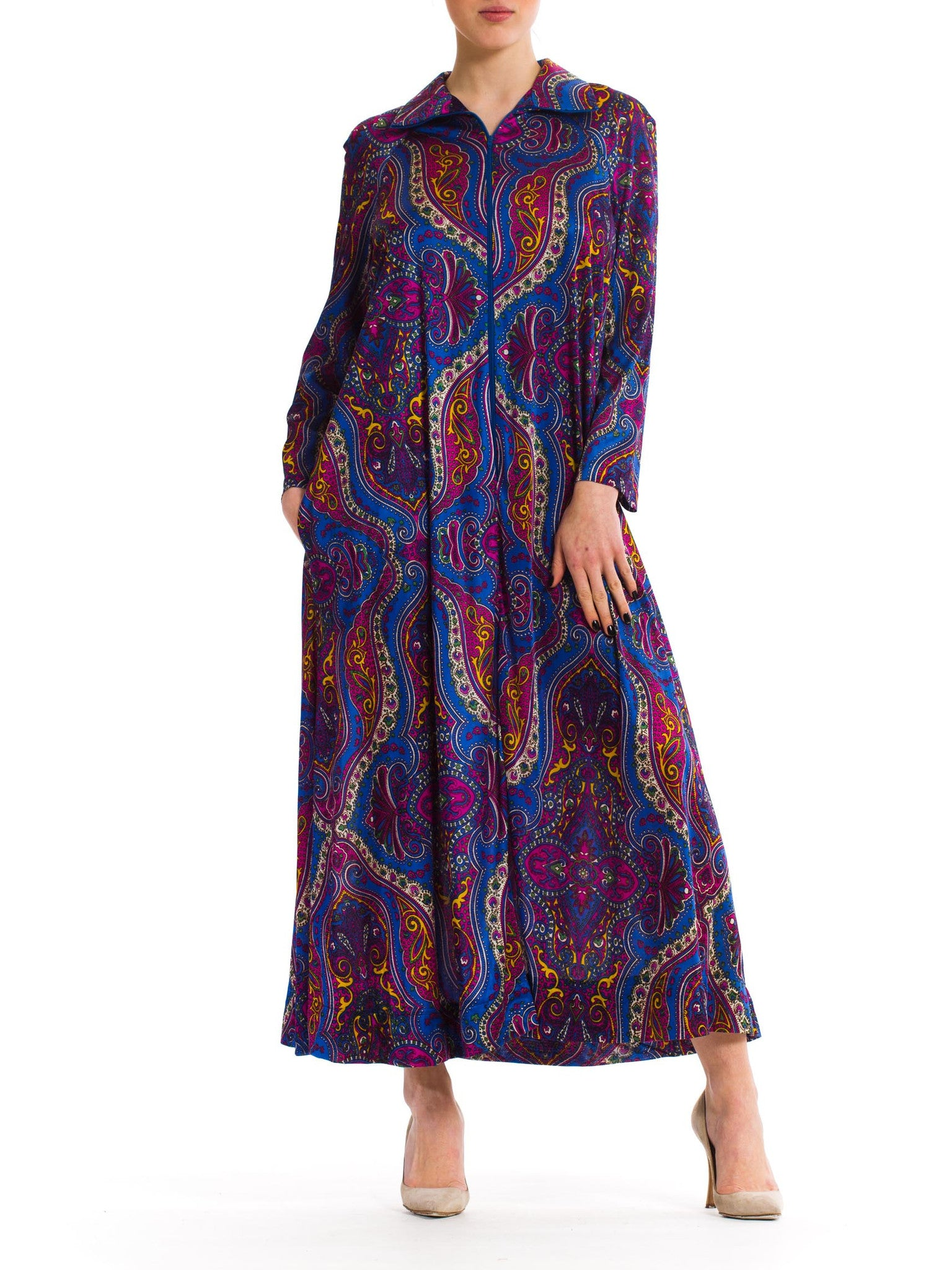 Extravagant Colorful Vintage 1960s Long Dress