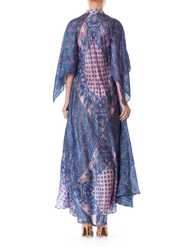 1970S Blue & Purple Silk Hand Printed Indian Boho Dress