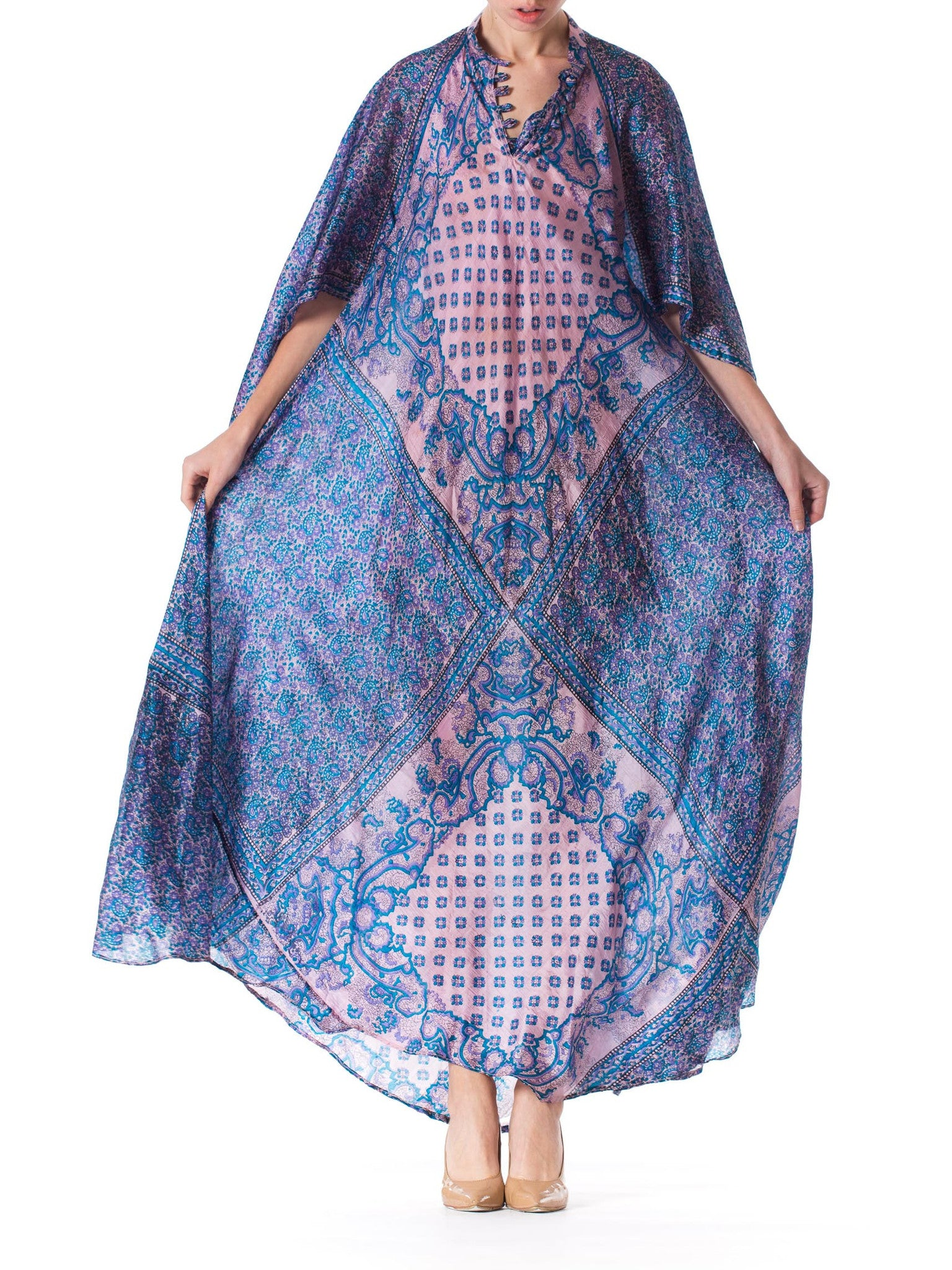 1970S Silk Hand Printed Boho Dress